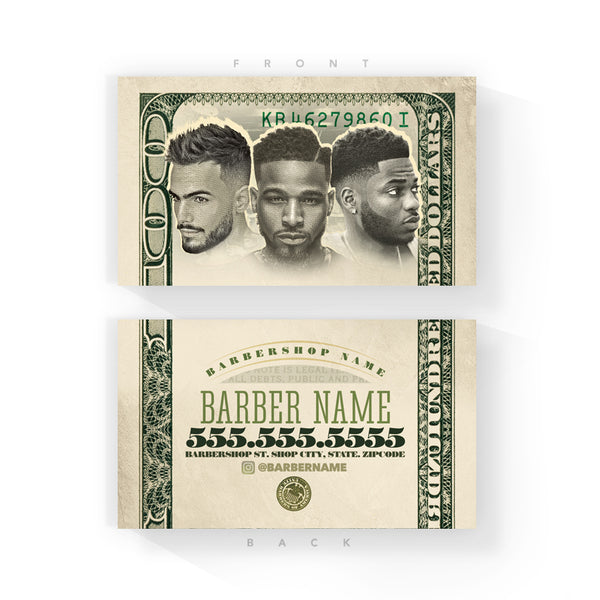 Bank Note 2017 Barber Business Cards (2 x 3.5 inches)