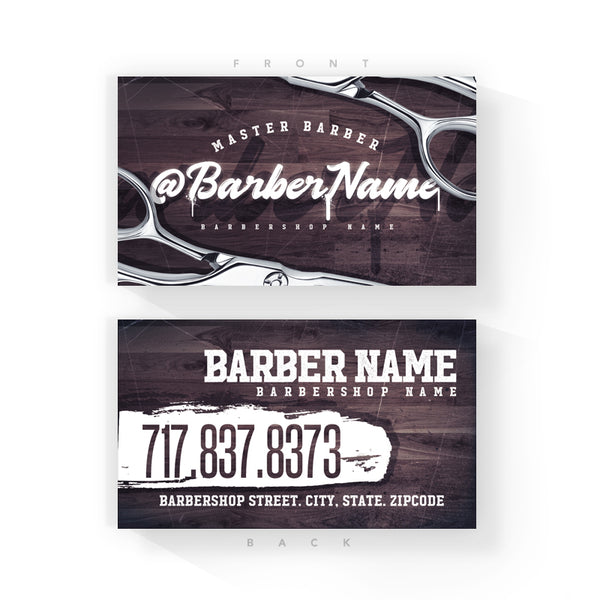 Wood Grain Barber Business Cards