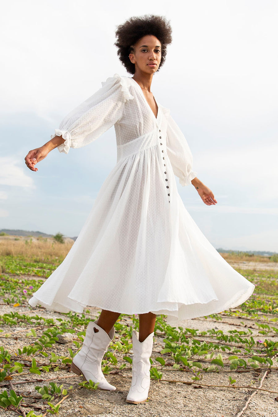 ZANTHE DOT MILKY WHITE MIDI DRESS