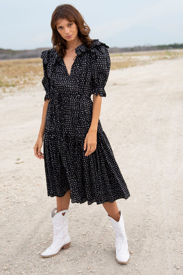 SAFFRON SCALLOP RANDOM DOT BLACK MIDI DRESS