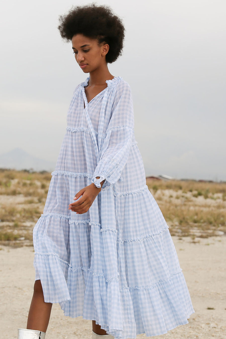 BELLAMY TEAR GINGHAM SKY BLUE MIDI DRESS