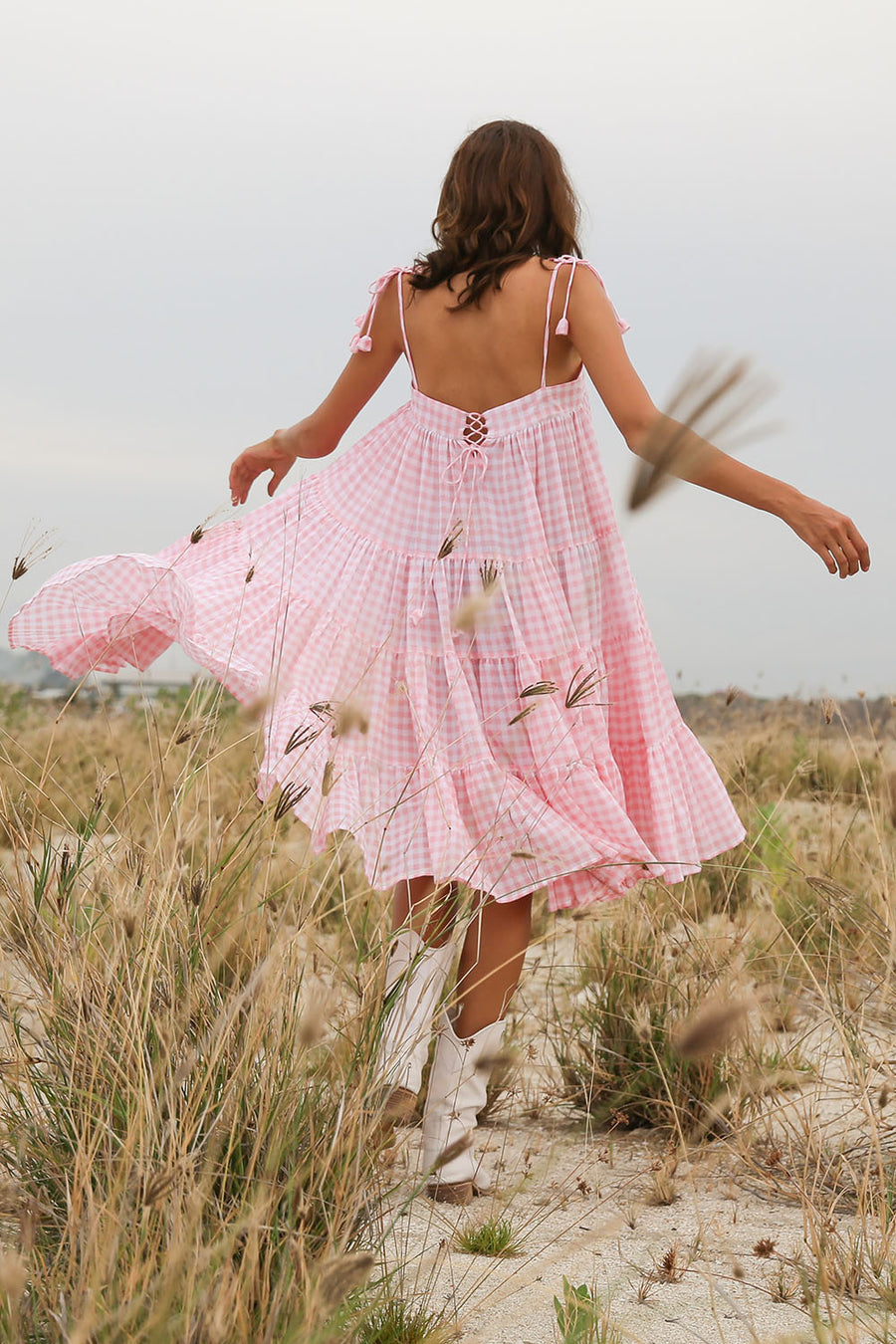 CANDICE GINGHAM BABY PINK DRESS