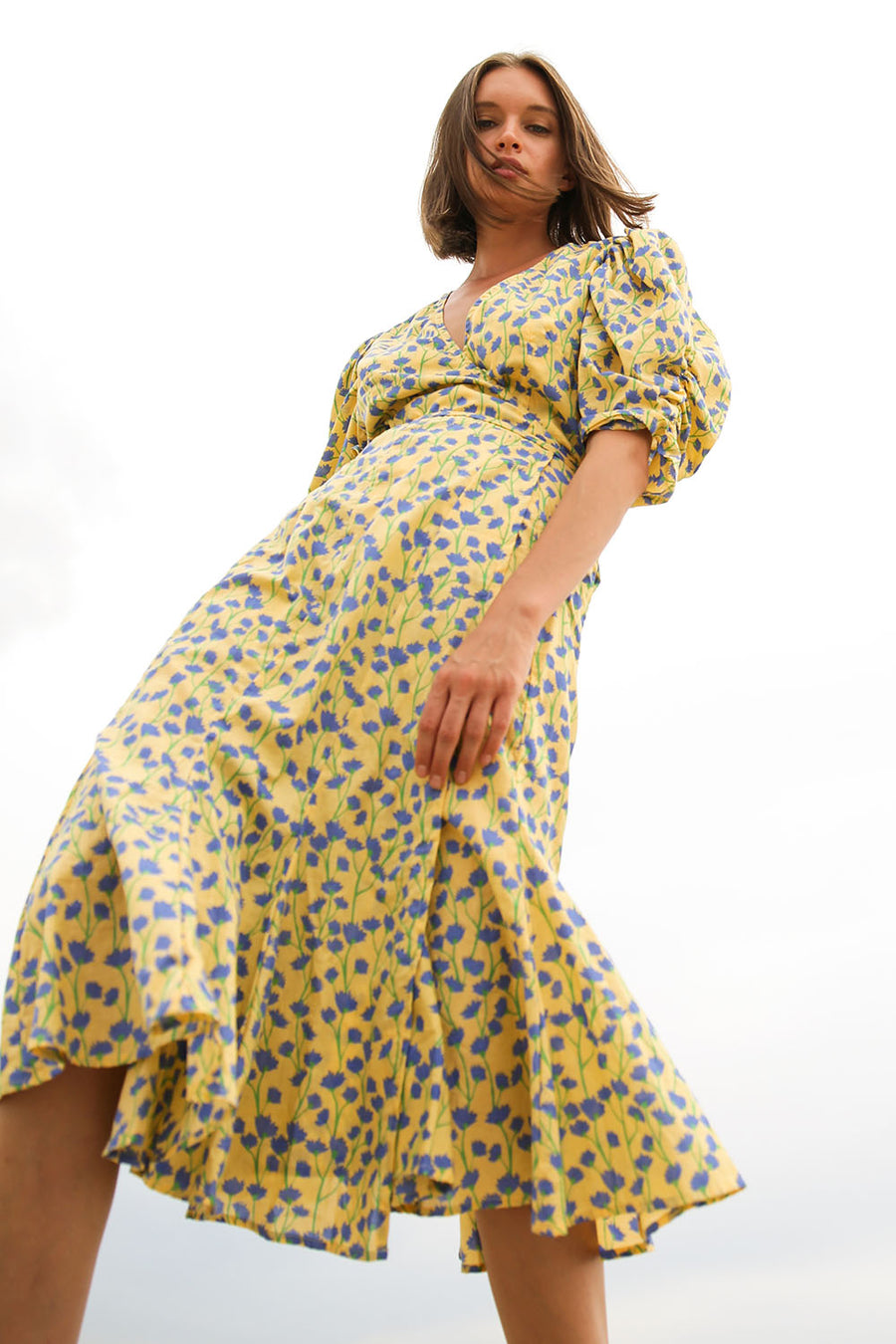 HALONA VINE BUTTER WRAP DRESS
