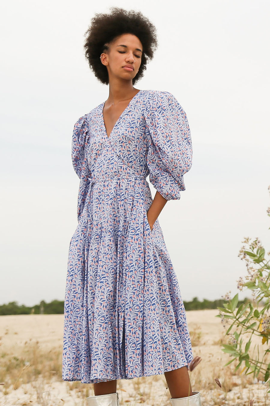 SOPHIA JASMINE BLUE WRAP DRESS