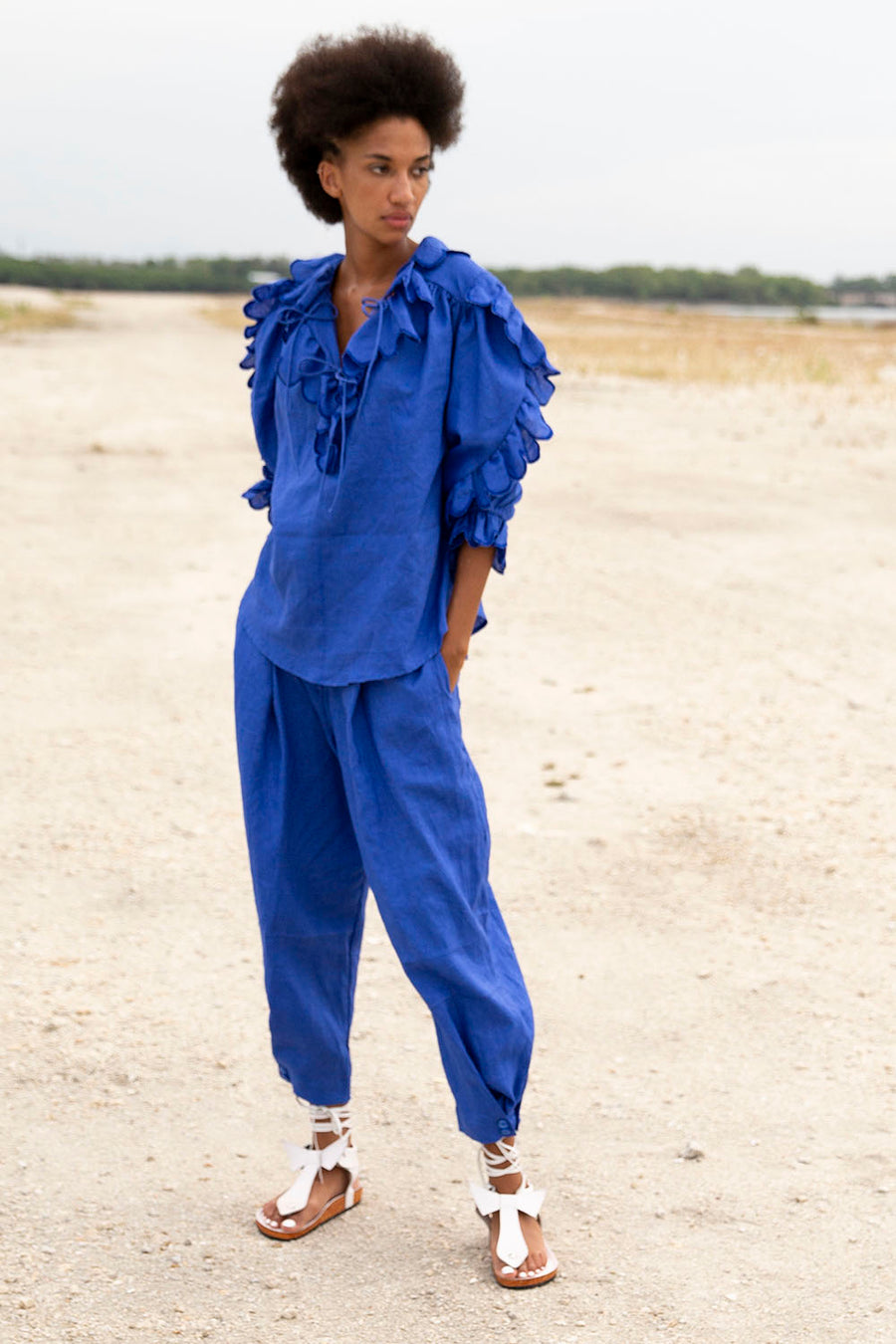 KHAIR LINEN ELECTRIC BLUE PANTS
