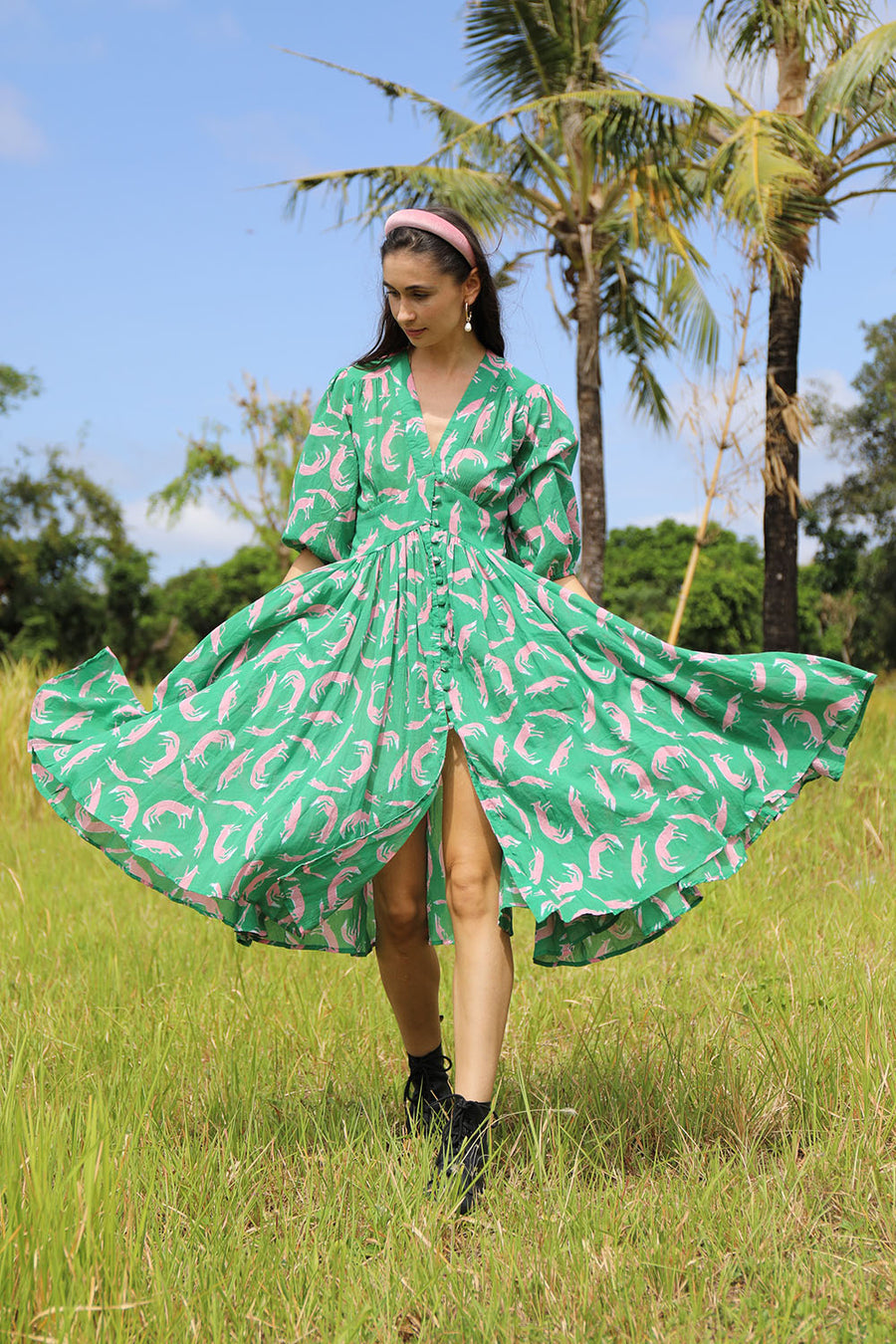 ABELLE DRESS FOX EMERALD