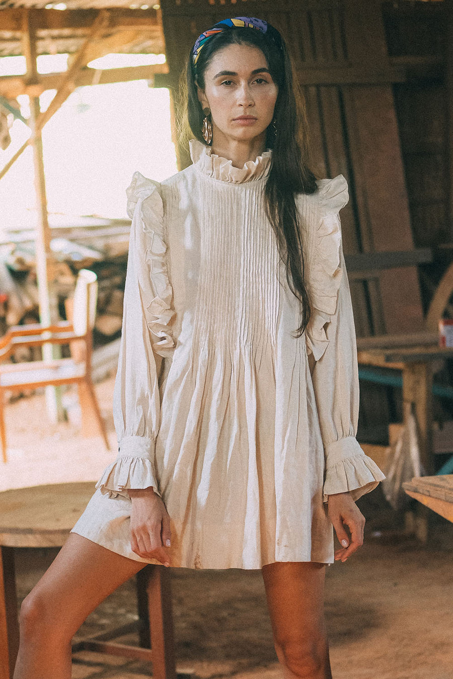 MADA ZERE DRESS LINEN NUDE
