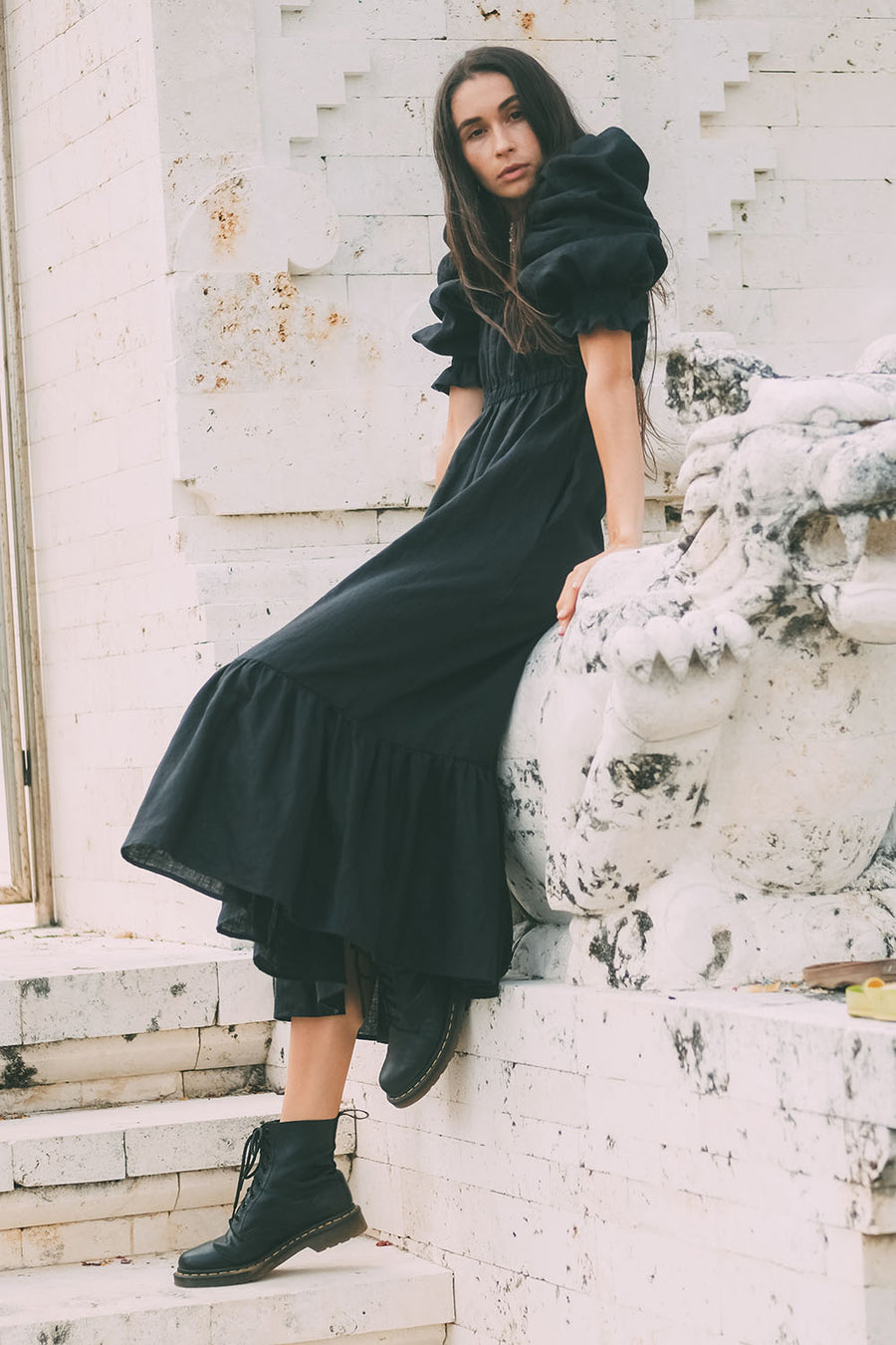 MICHELLE MQ DRESS LINEN BLACK