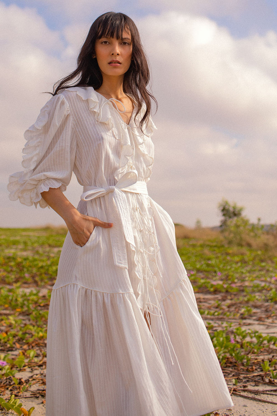 DIXIE SCALLOP MIDI HERRINGBONE WHITE DRESS
