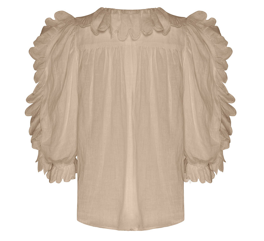 THE BULGA LINEN SCALLOP NUDE TOP