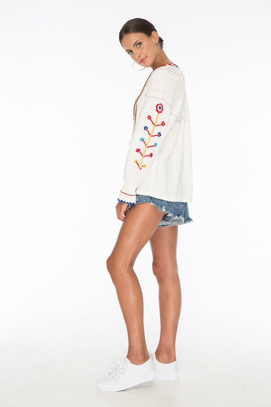 Nude Water Embroidery Top