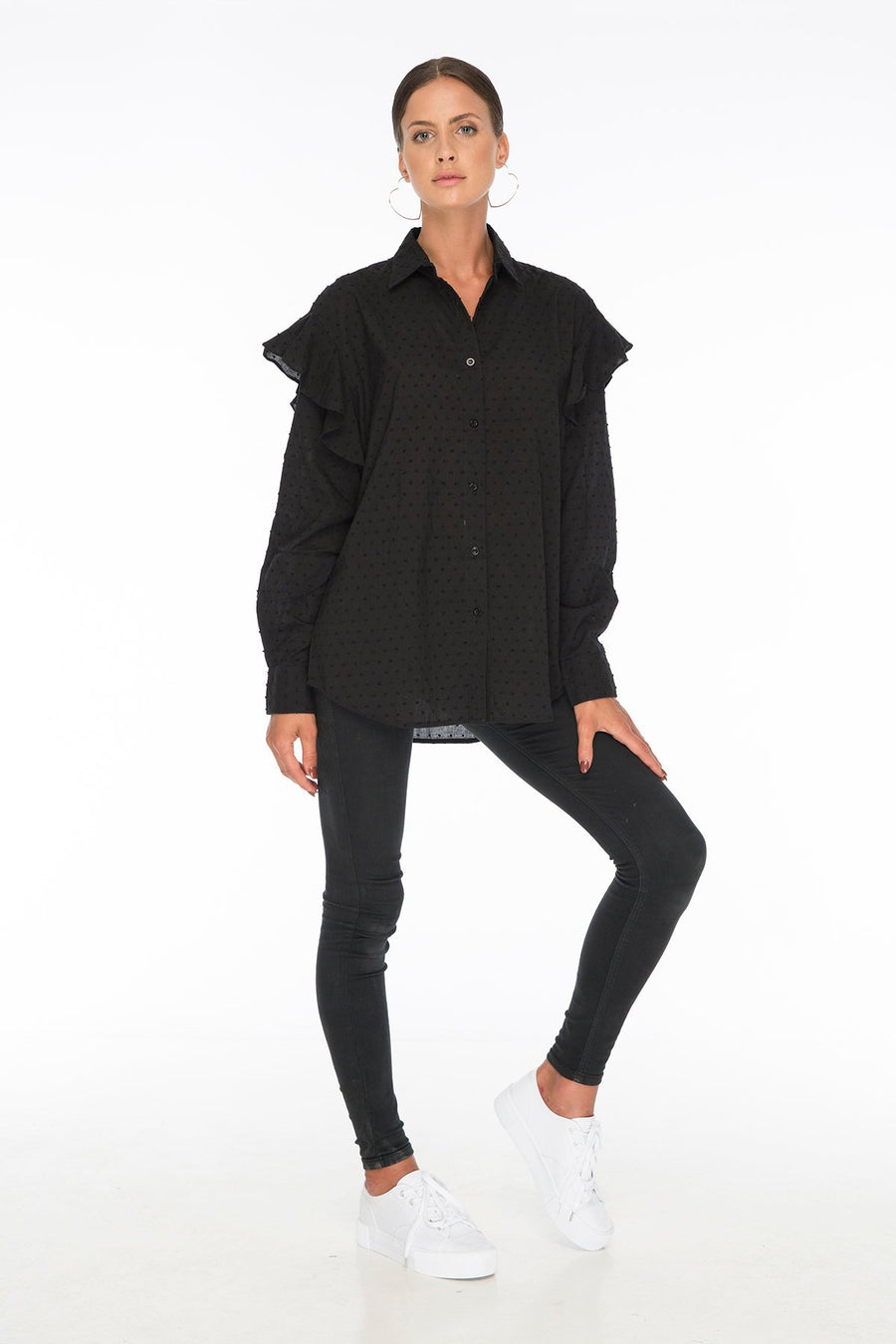 Jess Abby Ruffle Black Shirt