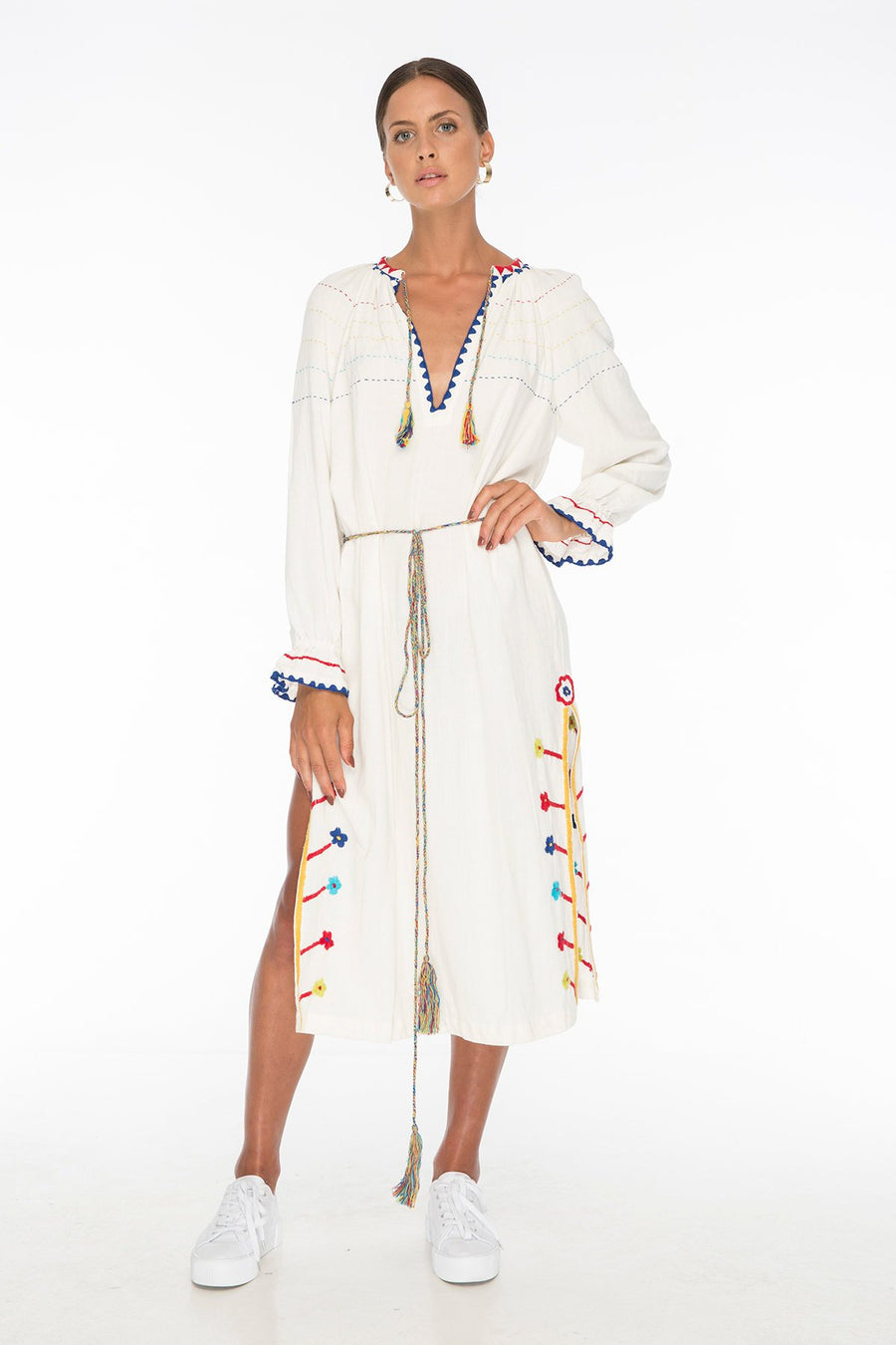 Nude Water Embroidery Long Tunic