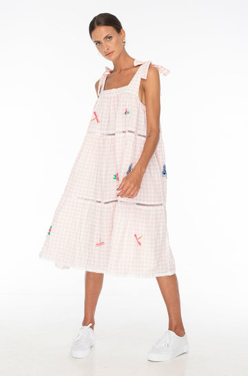 MARGOT EMBROIDERY DRESS GINGHAM PINK