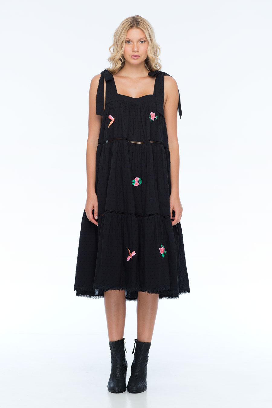 MARGOT EMBROIDERY BLACK DRESS
