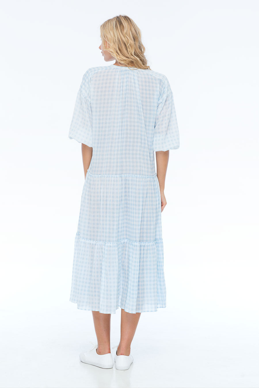 DAPPER DAN GINGHAM BLUE MIDI DRESS
