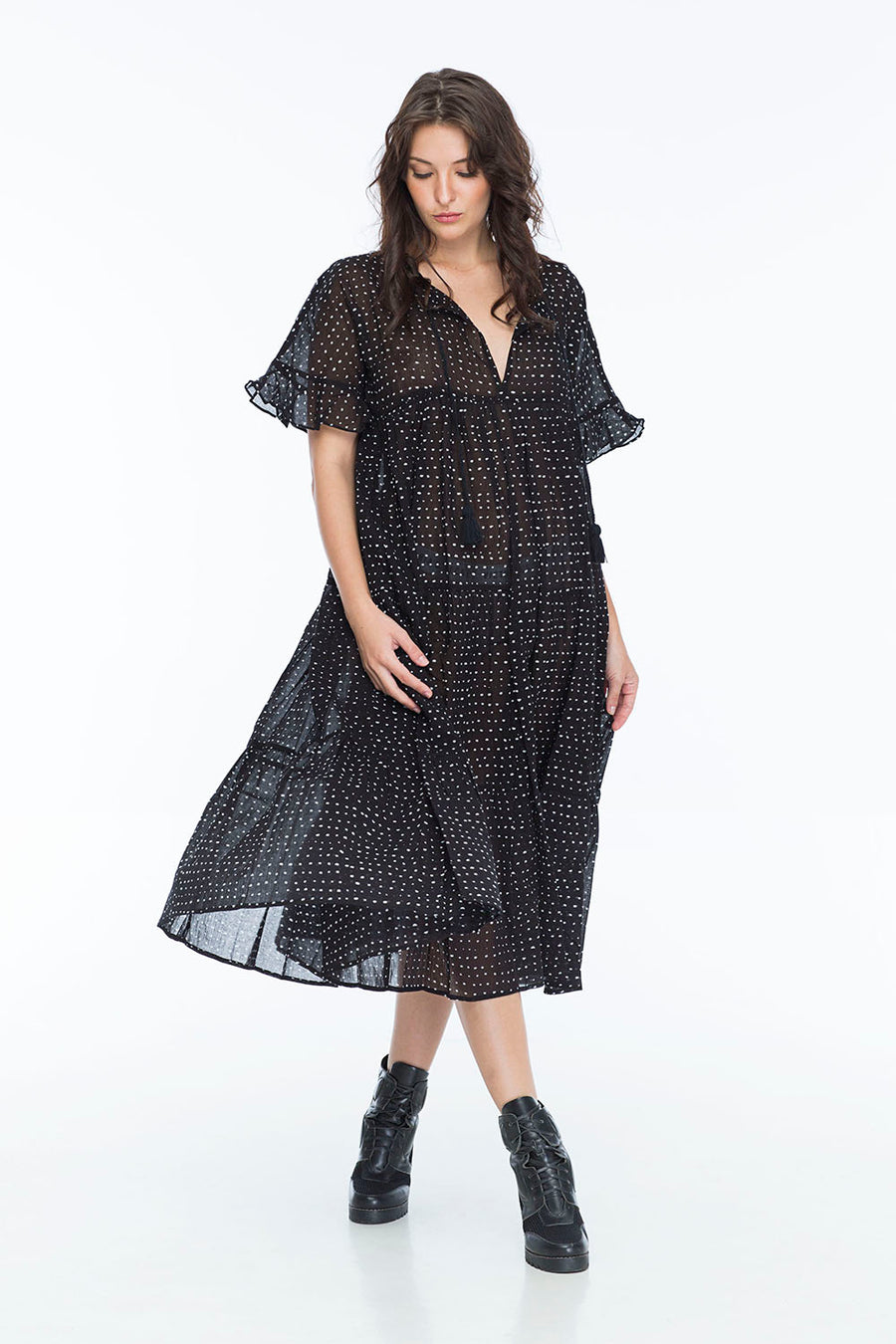 LUCCIANA DRESS RANDOM DOT NOIR