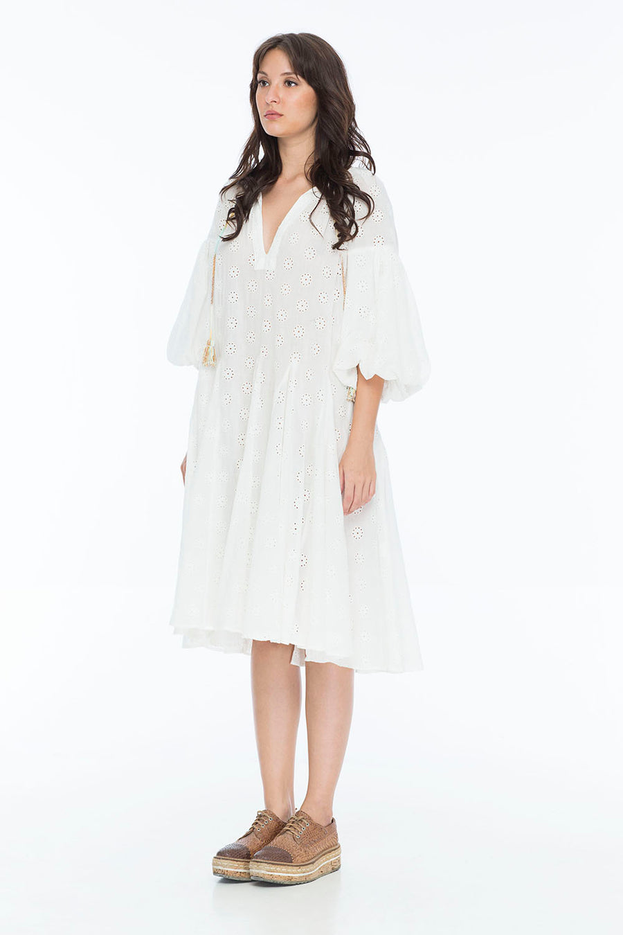 JENNA HIPP DRESS EYELETT WHITE