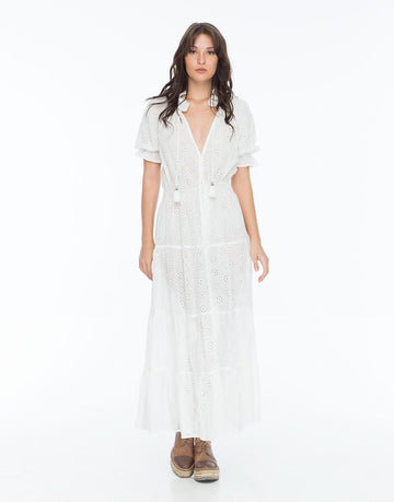 CAROLINA ISSA MAXI DRESS EYELETT WHITE