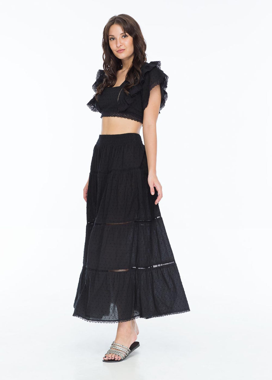 MORRIS LONG SKIRT SWISS DOT NOIR