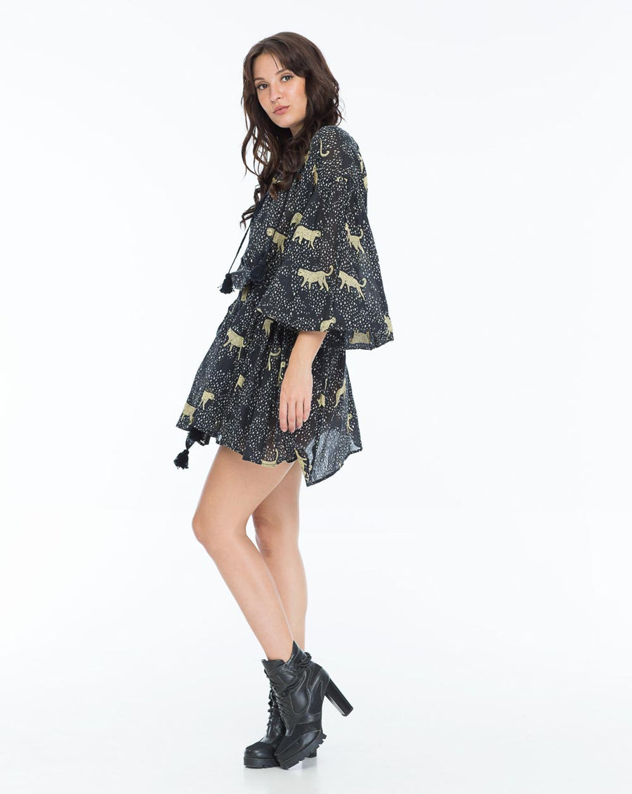 REBECCA DAY DRESS LEOPARD DIAMOND NOIR