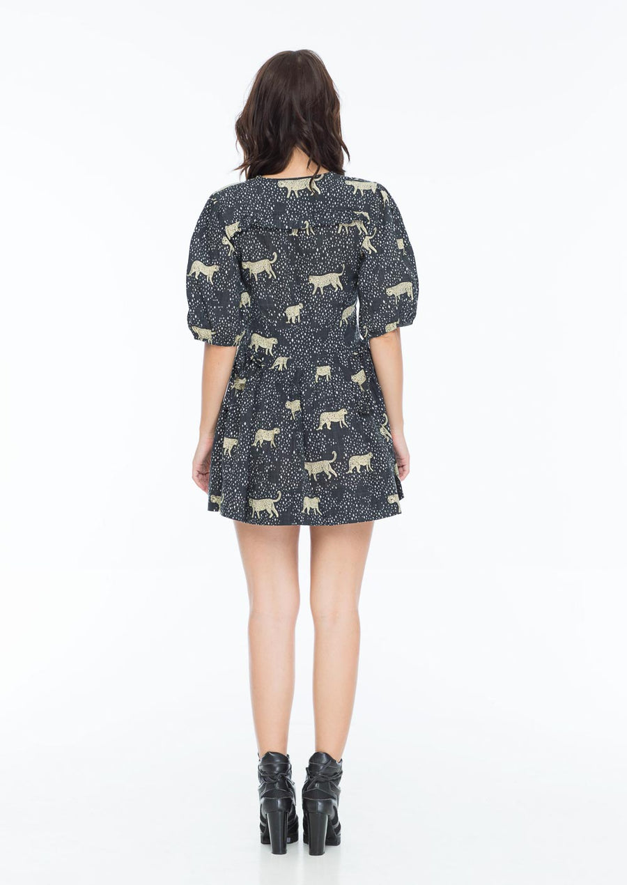 NAOMI SMITH DRESS LEOPARD DIAMOND NOIR