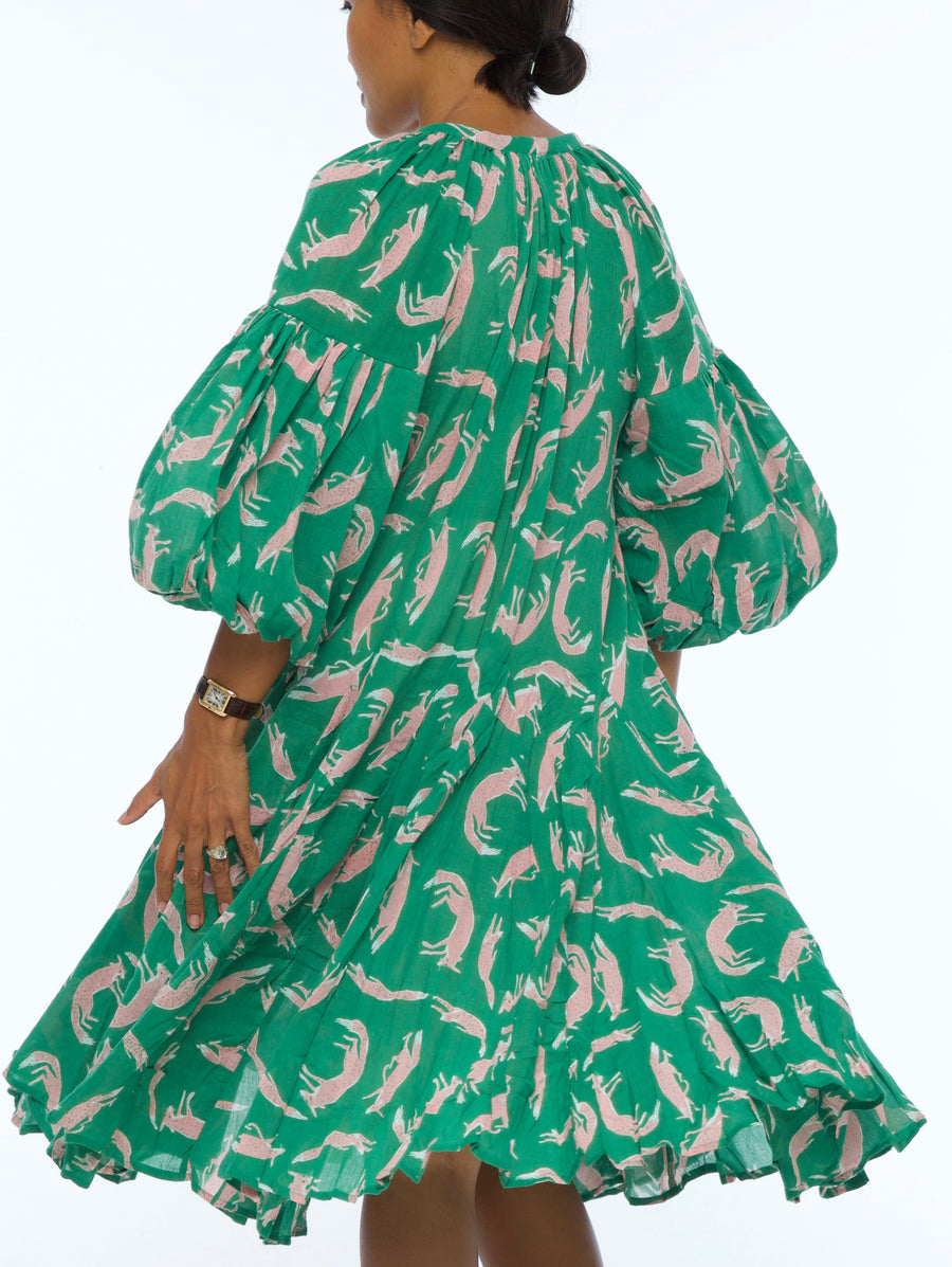 JENNA HIPP DRESS FOX EMERALD