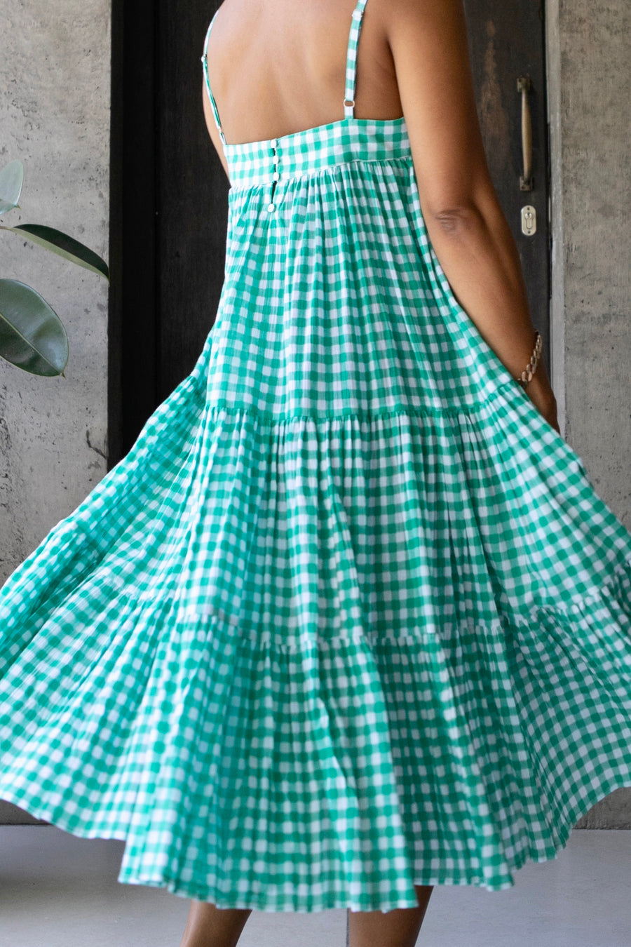 DOLLY JONES DRESS GINGHAM EMERALD