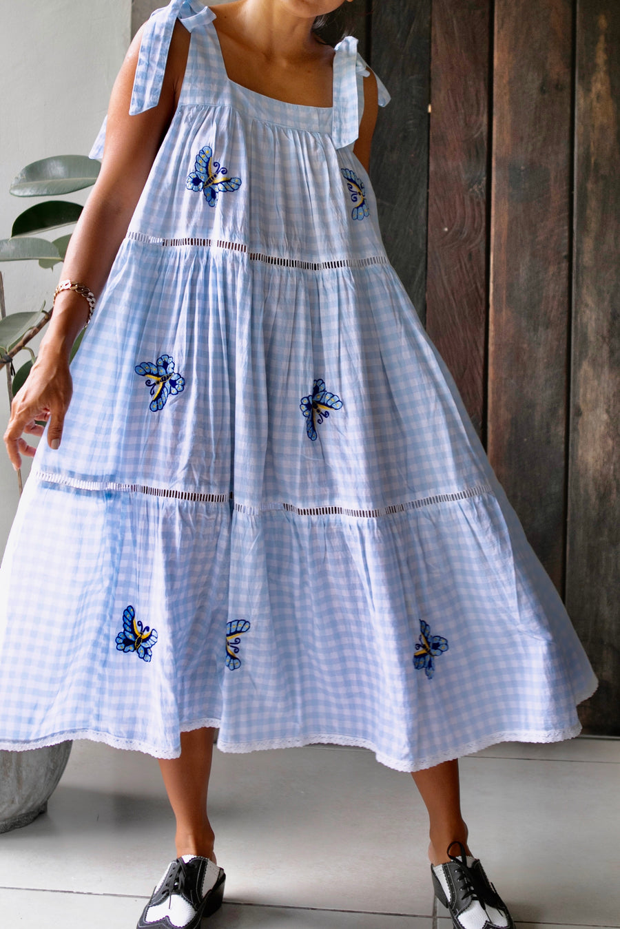MARGOT EMBROIDERY DRESS GINGHAM SKY BLUE