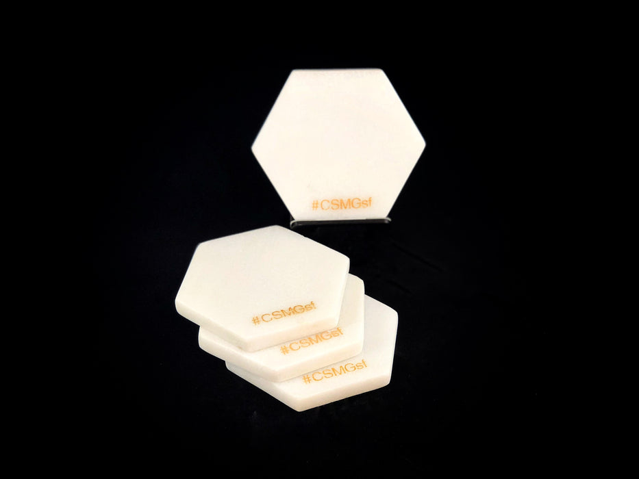 Hexagon white marble coaster set