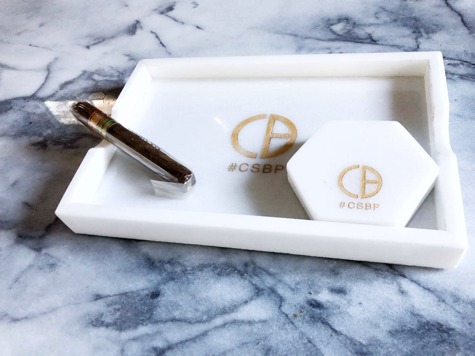 Marble cigar tray& coaster set