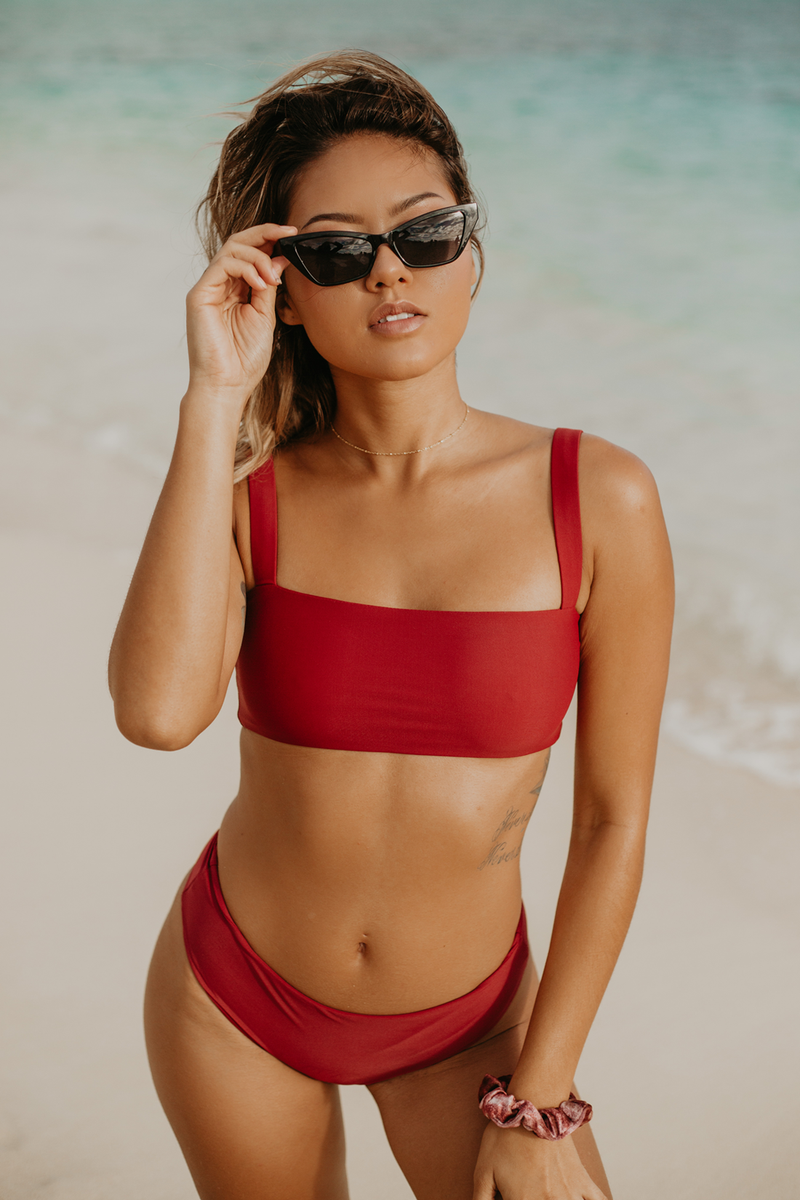 Wave Babe Swimwear Florence Clean Solid Color Minimal Top 2019 New Bikinis Soft Red Wine Sangria Support Best Quality Swim Brand Swimsuit Hawaii California Vacation Resort