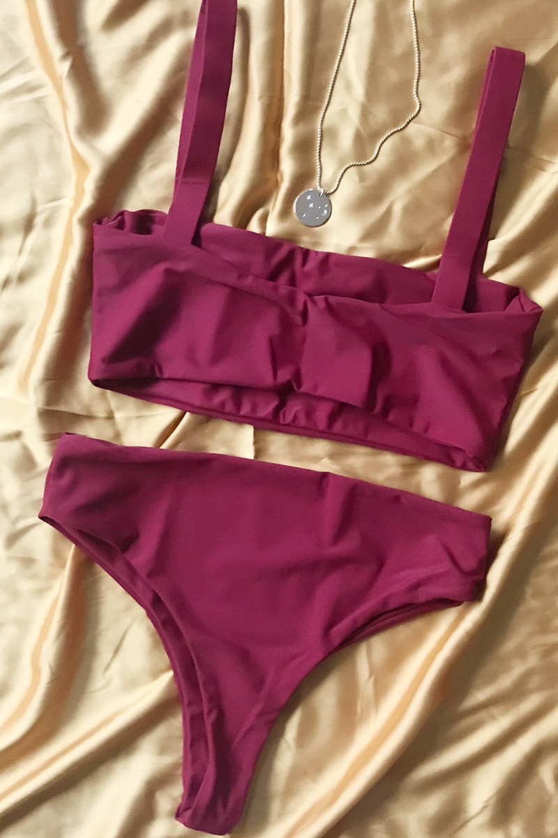 Wave Babe Swimwear Florence Clean Solid Color Minimal Top 2019 New Bikinis Soft Red Wine Sangria Support Best Quality Swim Brand Swimsuit Hawaii California Vacation Resort Flatlay