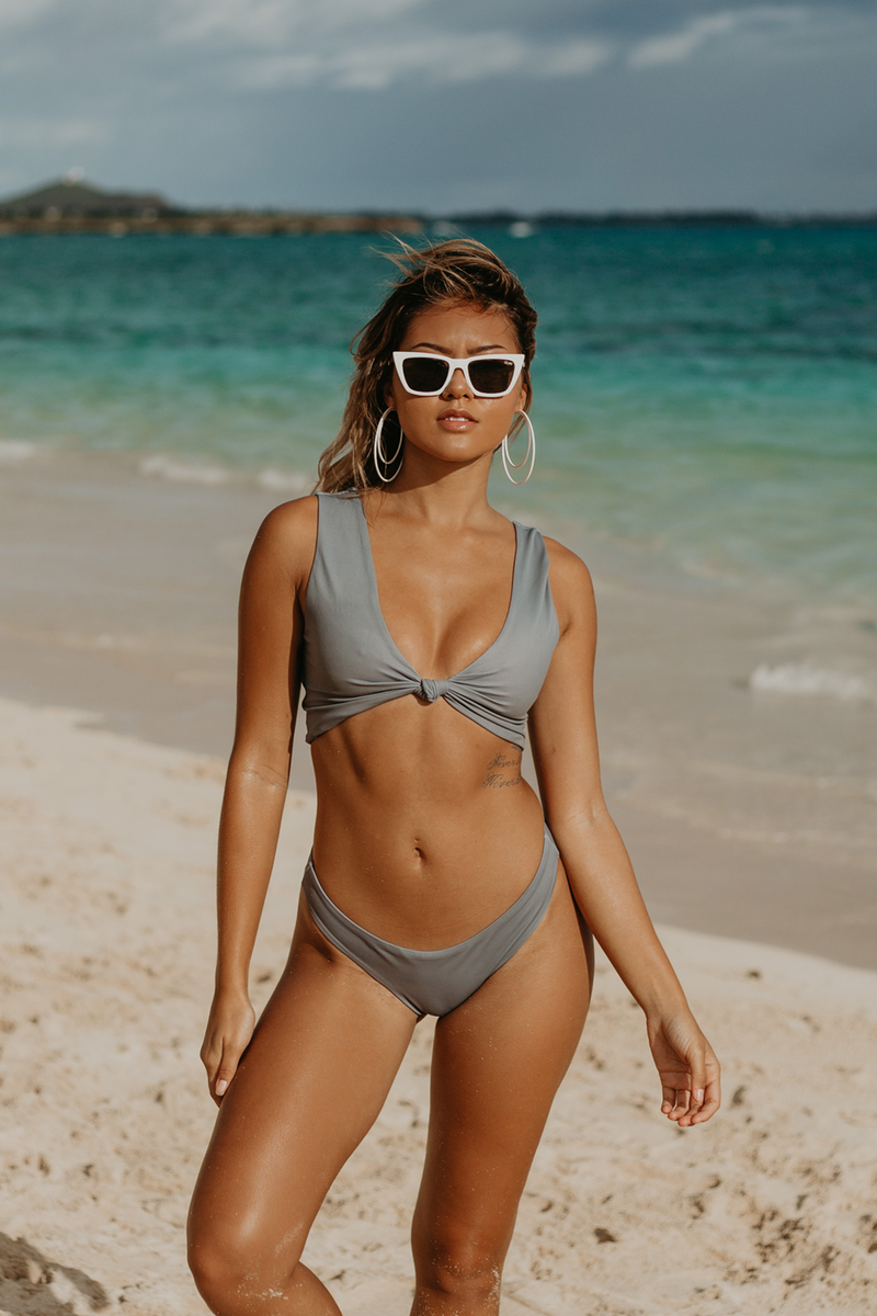 Havana Knot Bikini Top | Slate Grey - Wave Babe Swimwear - Best swimwear brands. Hawaii. California. High Cut Bottoms. Gorgeous SS19 Full Coverage Sexy Swimsuit. High Quality Soft Comfortable Scoop Back. Push-up Top.