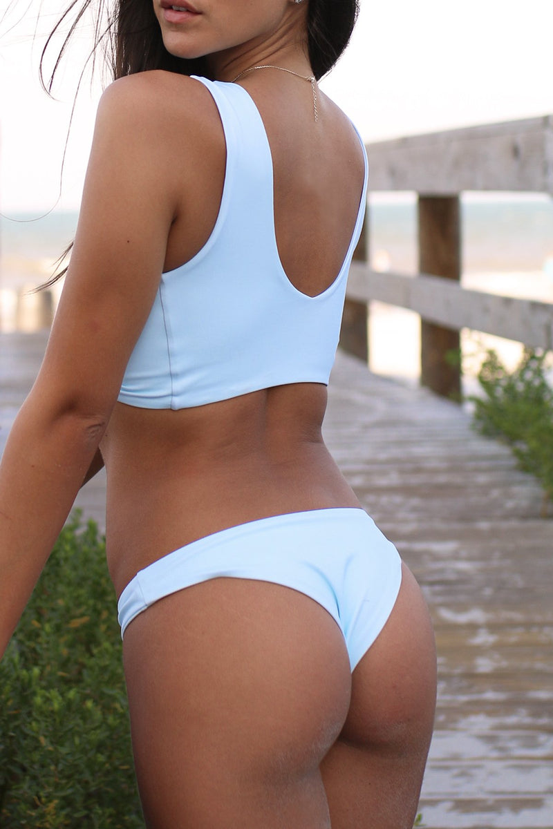 Wave Babe Swimwear Havana Bottoms Sea Salt Pale Blue Cheeky Minimal High Cut Leg Knot Beach Swim Bikini Swimsuit Travel Style 2019 SS19 Best Top Quality Comfort Soft Brands Fashion Hawaii California Florida