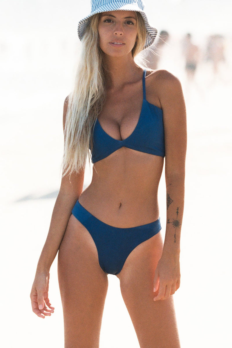 Wave Babe Swim Mykonos Indigo Deep Blue High Cut Leg Moderate Cheeky Coverage Bottoms Dreamy Soft Comfy Bikini Swimwear Beach Outfit 2020 Style