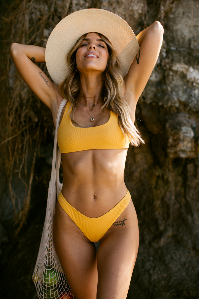 Wave Babe Swimwear Minimal Mango Orange Yellow Ribbed High Waist Cut Leg Cheeky Scoop Neck Beach Swim Bikini Swimsuit Travel Style 2019 SS19 Best Top Quality Comfort Soft Brands Fashion Hawaii California Sporty New Trends