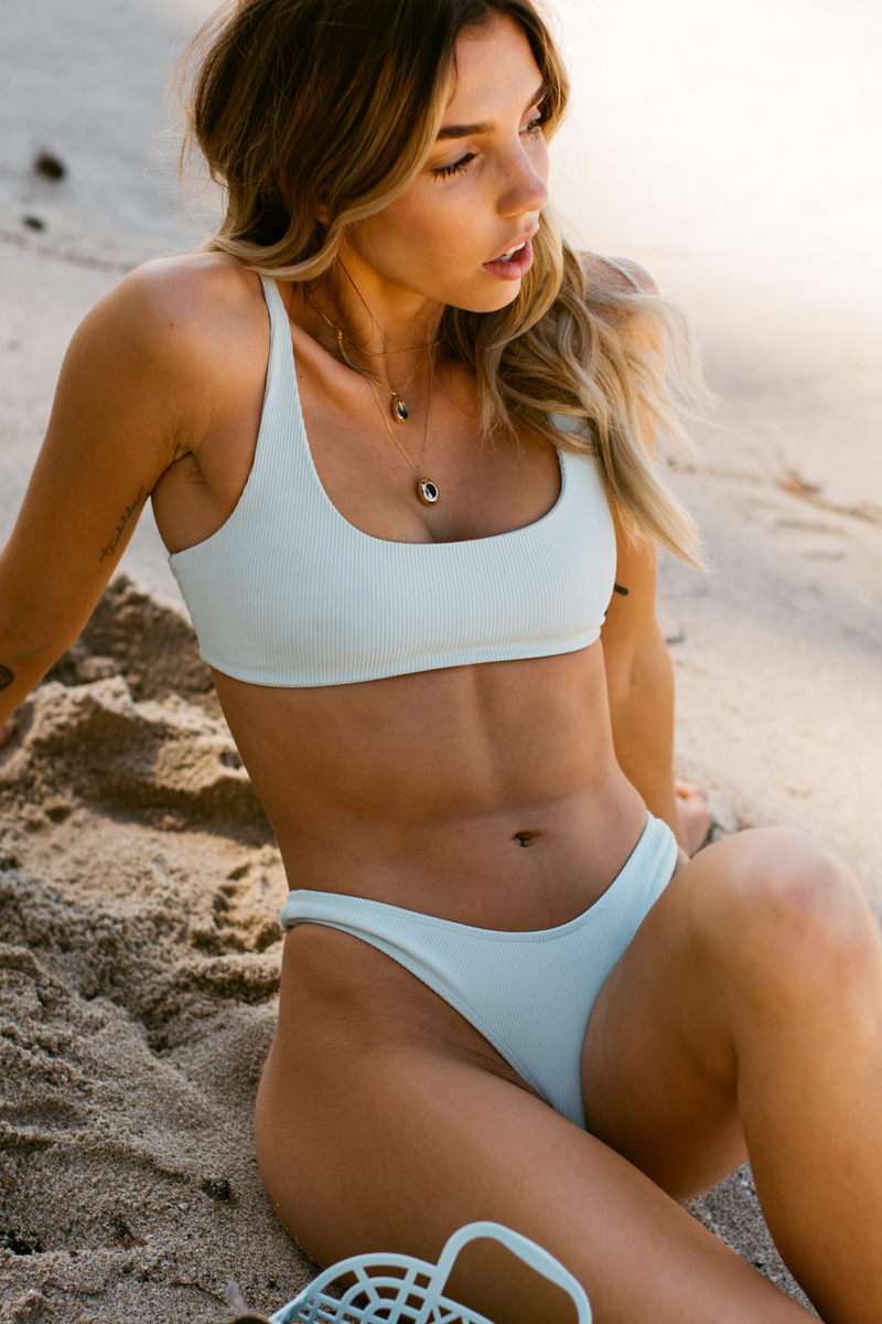 Wave Babe Swimwear Minimal Top Mojito Mint Blue Green Soft Ribbed High Waist Cut Leg Cheeky Scoop Neck Beach Swim Bikini Swimsuit Travel Style 2019 SS19 Best Top Quality Comfort Soft Brands Fashion Hawaii California Sporty New Trends Muted