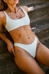 Wave Babe Swimwear Minimal Bottoms Mojito Mint Blue Green Soft Ribbed High Waist Cut Leg Cheeky Scoop Neck Beach Swim Bikini Swimsuit Travel Style 2019 SS19 Best Top Quality Comfort Soft Brands Fashion Hawaii California Sporty New Trends Muted