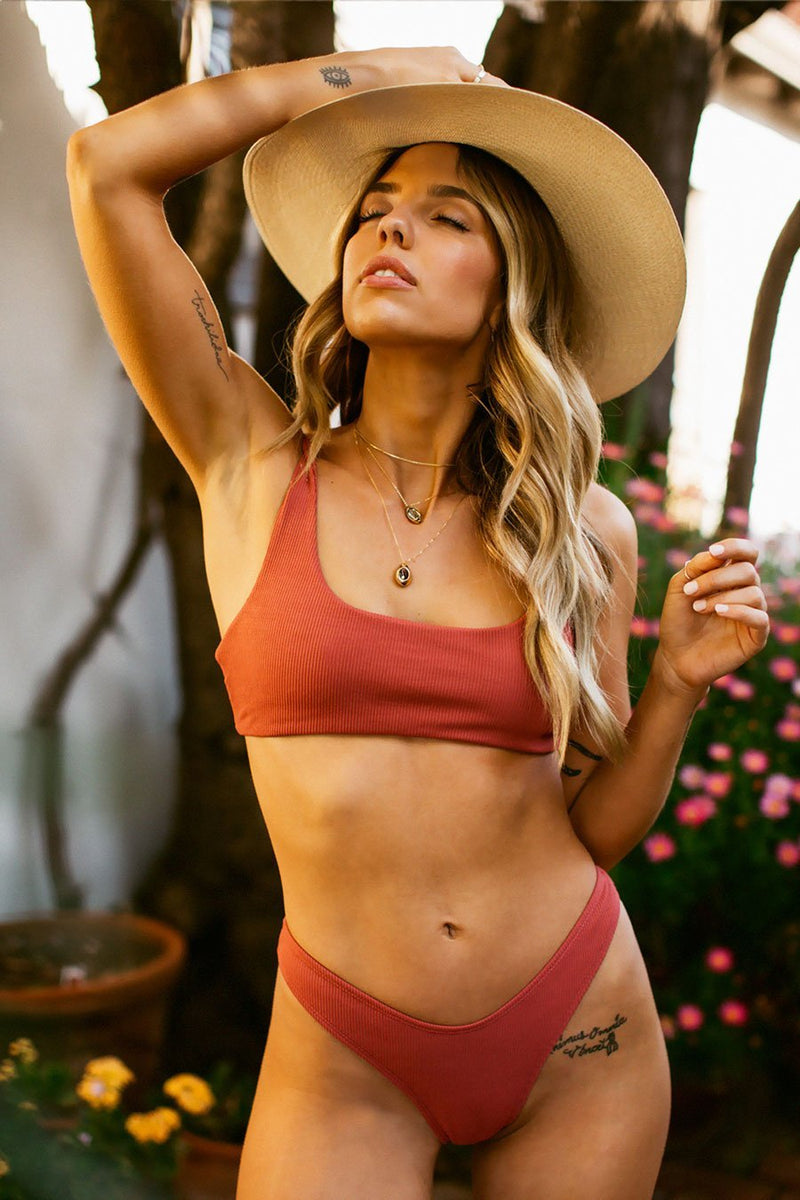 Wave Babe Swimwear Minimal Tops Rose Red Burnt Orange Ribbed High Waist Cut Leg Cheeky Scoop Neck Beach Swim Bikini Swimsuit Travel Style 2019 SS19 Best Top Quality Comfort Soft Brands Fashion Hawaii California Sporty New Trends Muted