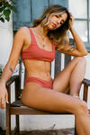 Wave Babe Swimwear Minimal Bottoms Rose Red Burnt Orange Ribbed High Waist Cut Leg Cheeky Scoop Neck Beach Swim Bikini Swimsuit Travel Style 2019 SS19 Best Top Quality Comfort Soft Brands Fashion Hawaii California Sporty New Trends Muted