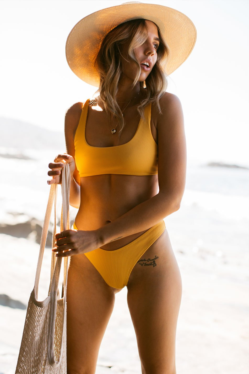 Wave Babe Swimwear Mango Yellow Orange Minimal Ribbed High Waist Cut Leg Cheeky Scoop Neck Beach Swim Bikini Swimsuit Travel Style 2019 SS19 Best Top Quality Comfort Soft Brands Fashion Hawaii California