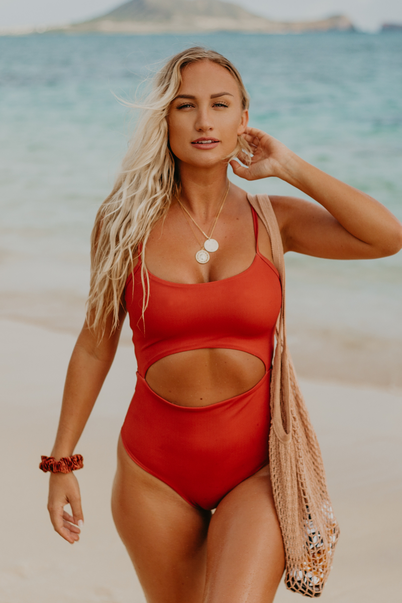 Wave Babe Swimwear Maya One Piece Minimal Bikinis Monokinis Spice Rust Red Cut Out Quality Durable Fabric 2019 Styles New Gorgeous