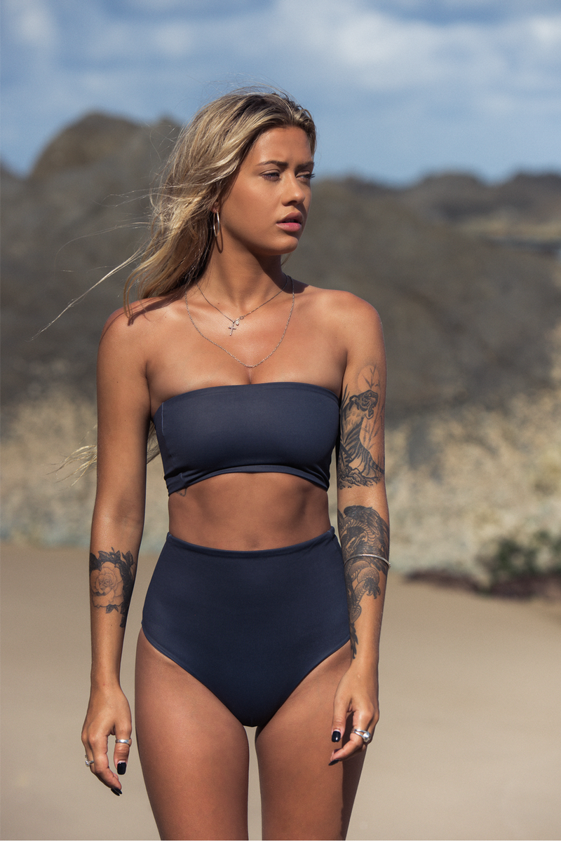 Wave Babe Swimwear Monaco Jet Set High Waist Cheeky Bottoms Bandeau Top Clean Simple Bikini Soft Thick Quality Charcoal Grey Minimalist 2019 Swimwavebabe