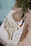 Wave Babe Swimwear Limelight Shimmer Flatlay Bikini Top Bridal Honeymoon Classy Festival Glitter Seamless Pretty Tie Back Cage High Waist High Cut Bottom New Resort 2019 SS 2020