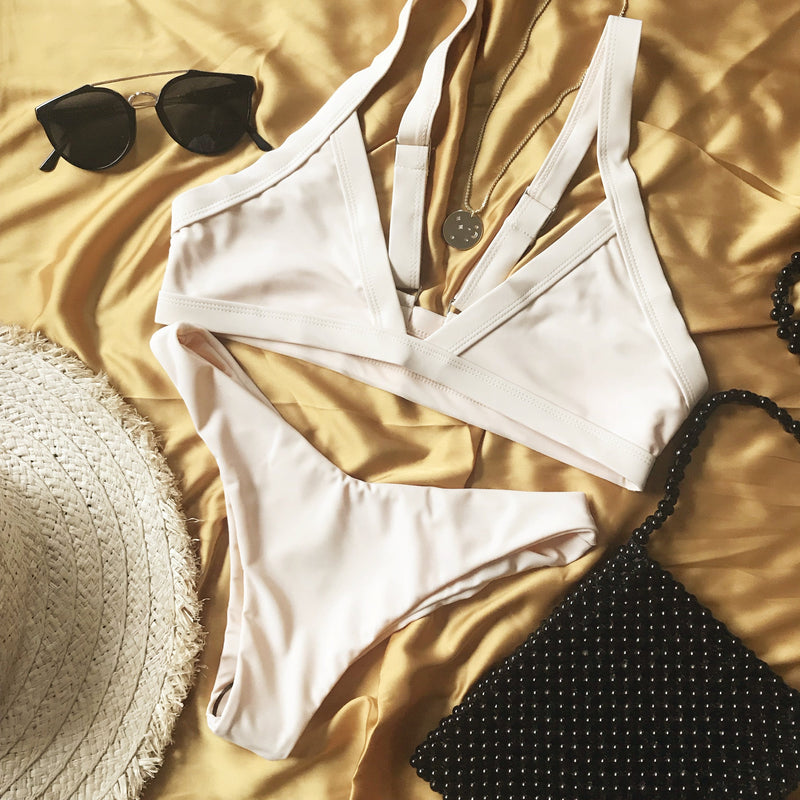 Wave Babe Swimwear Venice Triangle Top 2019 New Bikinis Nude Yellow Peach Support Adjustable Push-Up Straps Best Swim Brand Swimsuit Flatlay