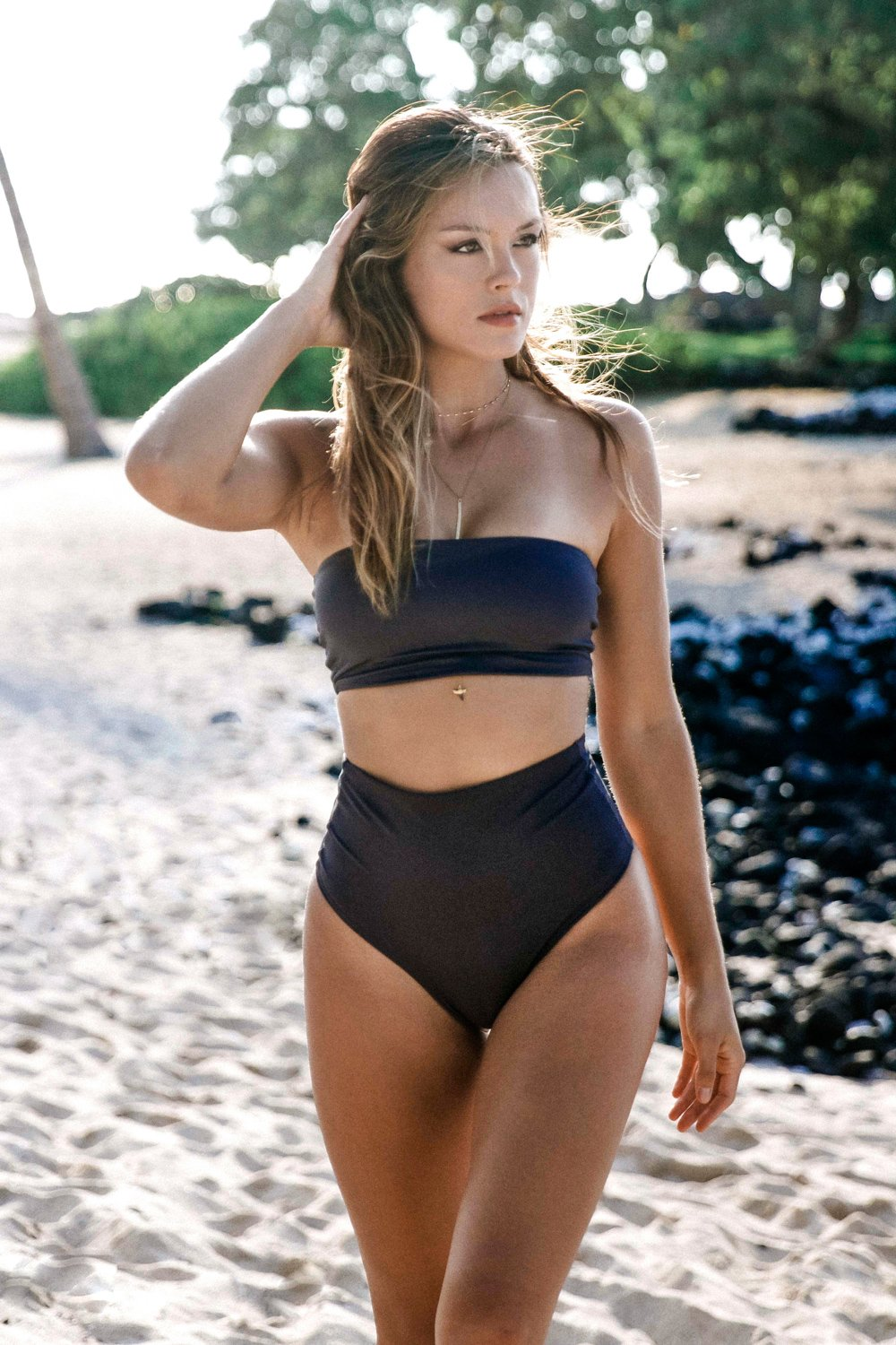 Monaco Top | Jet Set - Wave Babe Swimwear Charcoal Dark Grey Minimal Bandeau Top Simple Cute Best Swimwear 2019 Sexy Sporty Classic