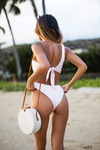 Carmella Top | Peach Sorbet - Wave Babe Swimwear - Bikini Tie-back top with adjustable fit. Classic timeless one shoulder. Best swimwear brands 2019 SS swimsuit styles. V cut bottoms, soft quality top.
