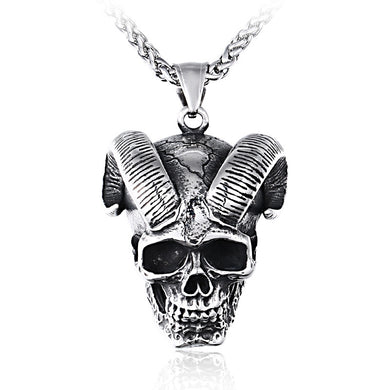 Stainless Steel Skull Ram Necklace & Chain