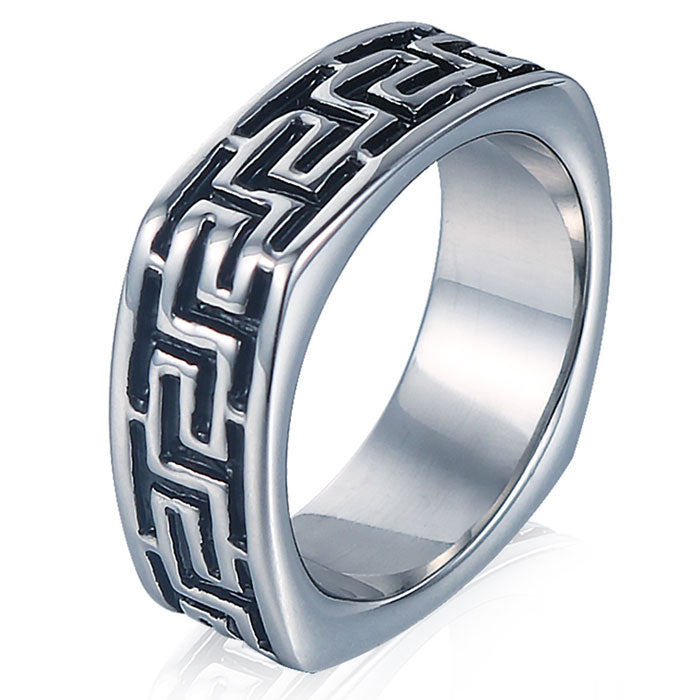 NEW ITEM - Stainless Steel Greek Key Style Ring